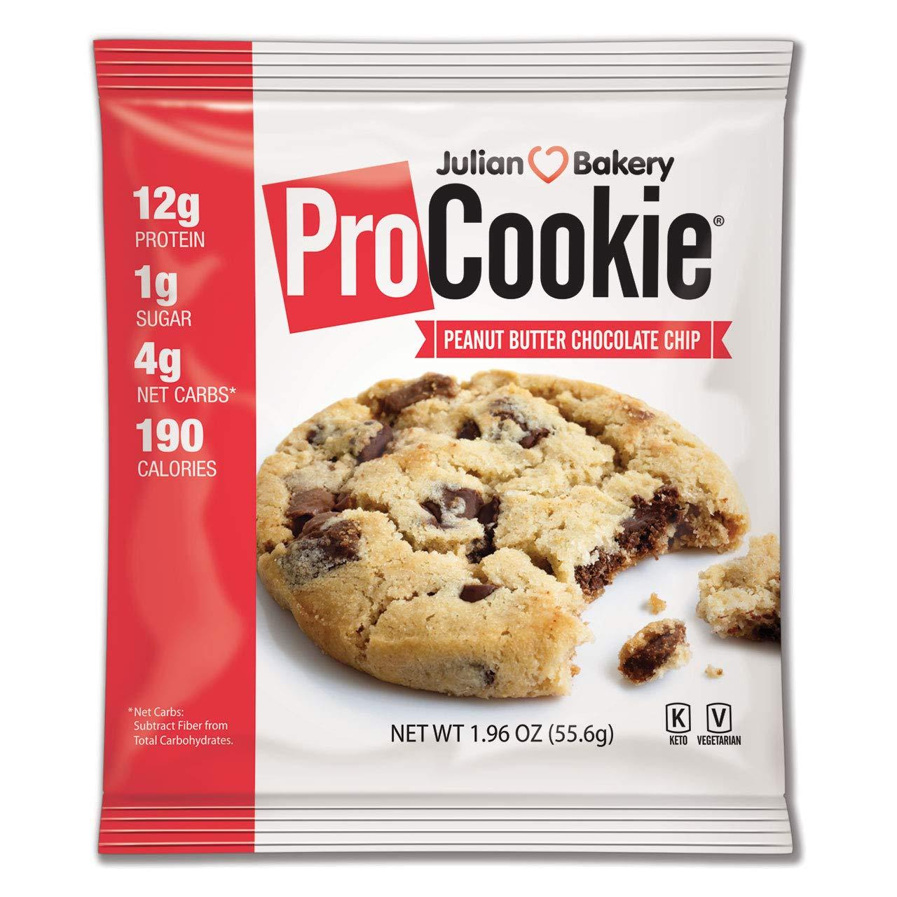 ProCookie Peanut Butter Chocolate Chip (4 Net Carbs)(Gluten-Free)(Grain-Free) (8 Keto Cookies) by Julian Bakery