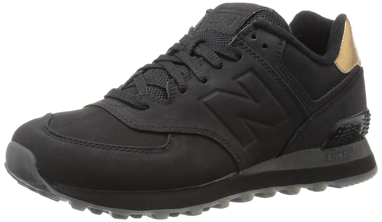 New Balance Women's 574 Molten Metal Pack Fashion Sneaker B01CQVI6L0 7 M US|Black/Gold