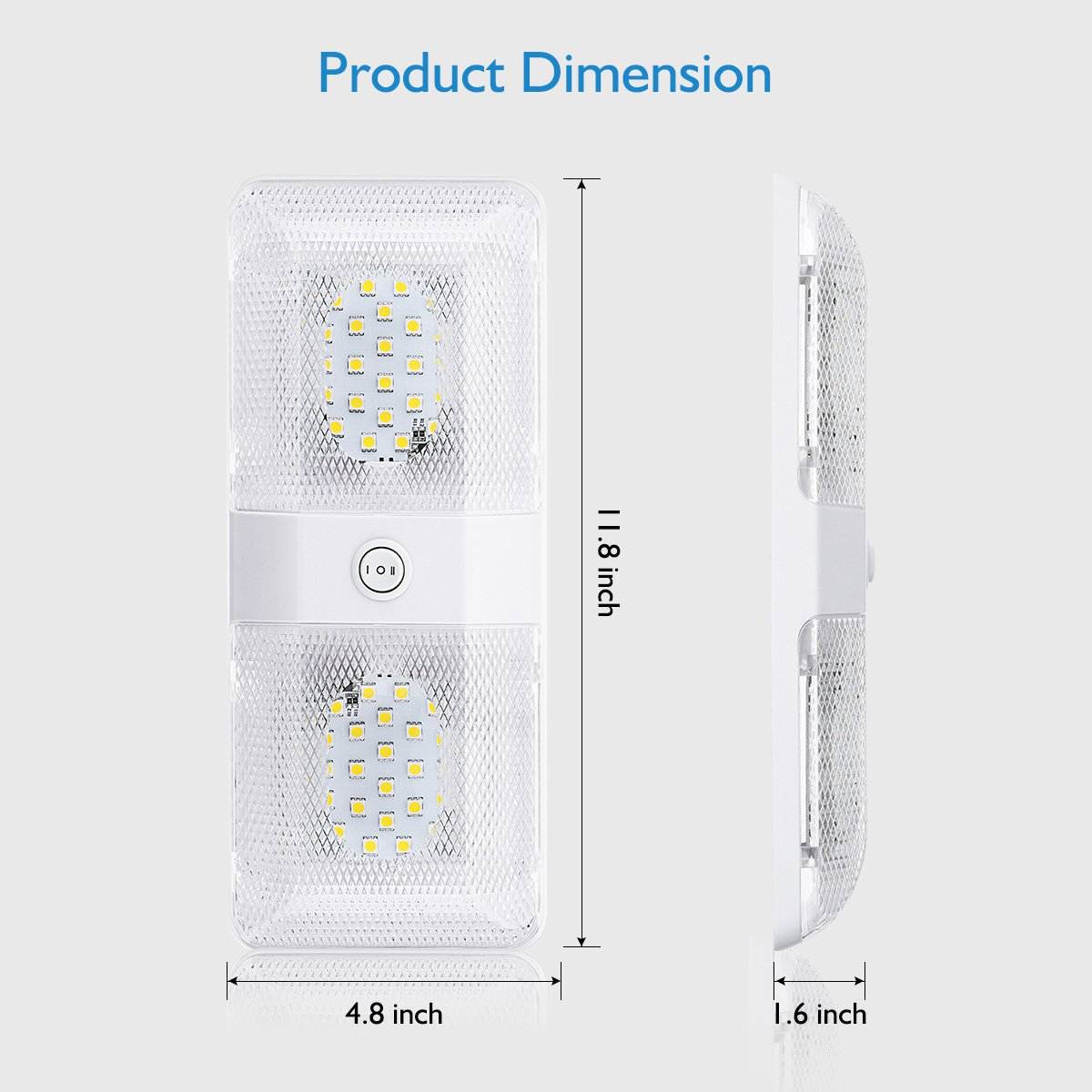 Pack of 2 Audew DC 12V LED RV Ceiling Double Dome Light,Interior Lighting for Camper RV Trailer Boat with Switch,580 Lumens,White
