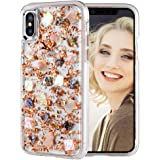 Maxdara iPhone X/XS Glitter Case, Glitter Shell Gold Foil Sparkle Luxury Bling Ultra Slim Protective TPU Bumper with Hard Back Durable 2 in 1 Pretty Fashion Girls Case for iPhone X/XS 5.8 inch (Gold)