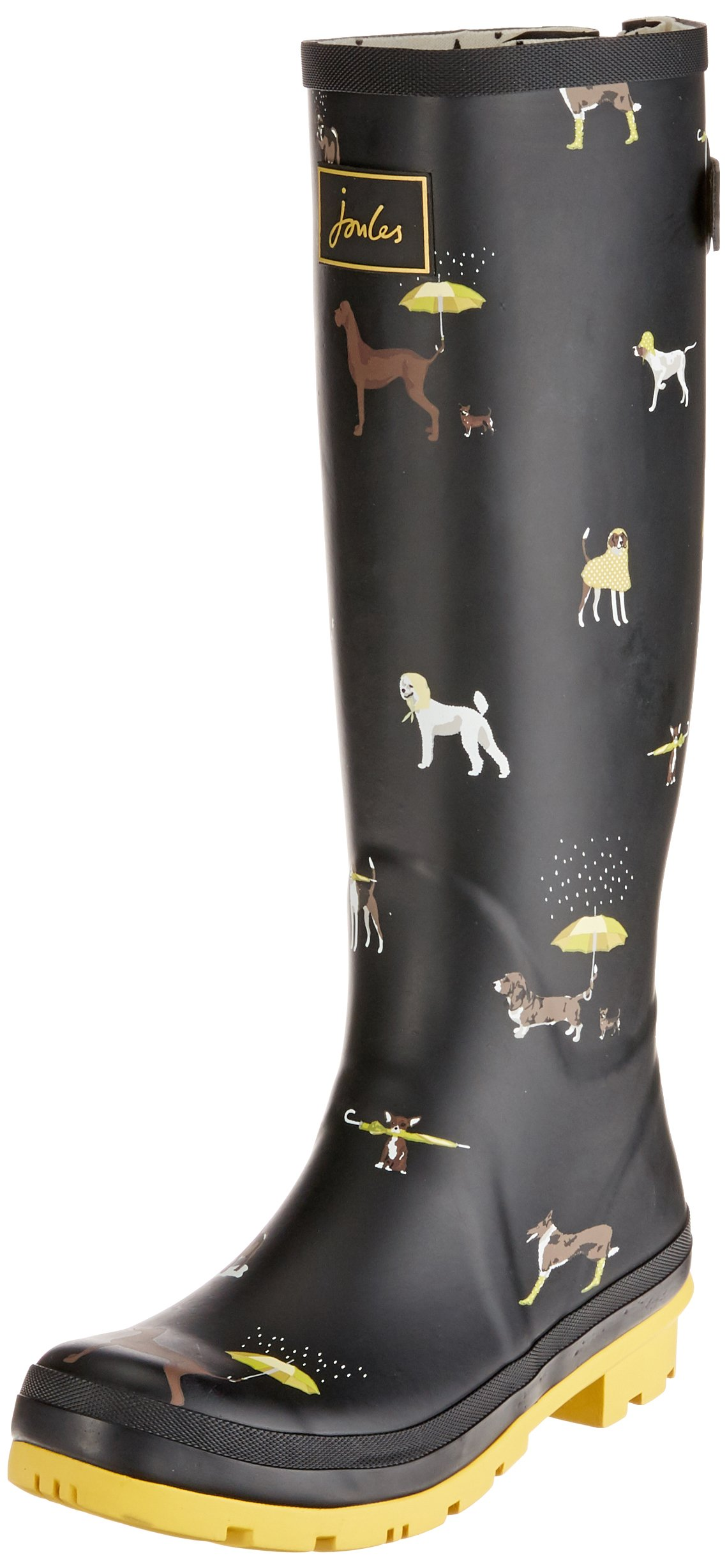 Joules Women's Tall Welly Print Black Raining Dogs Rubber 8 B US