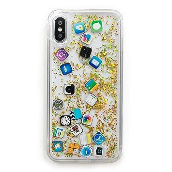 3de80ad5b0 iPhone X スマホケース キラキラ ラメ アイコン icon APP ホーム画面風 グリッター Gritter (ゴールド)