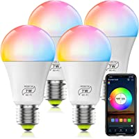 HaoDeng WiFi LED Light, 4Pack Smart Bulb -Timer& Sunrise& Sunset- Dimmable, Multicolor, Warm White (Color Changing Disco…