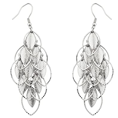 0aad580e2 Amazon.com: Lux Accessories Silver tone Petals Waterfall Earrings ...