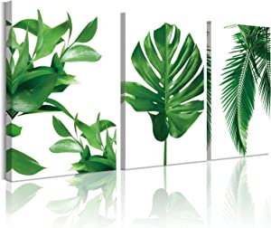 Green Leaf Wall Decor for Living Room Decoration 12x16inch Set of 3pcs Framed Plant Decor for Bedroom Wall Tropical Monstera Botanical Wall Art Painting Bathroom Canvas Prints Artwork
