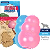 KONG - Classic Puppy Dog Toy & Puppy Snacks Bundle - Durable Natural Rubber, Fun to Chew, Chase and Fetch - All Natural Biscuit Treats - for Large Puppies