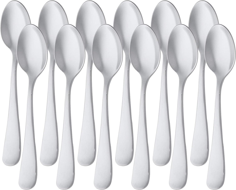 Juego de 12 cucharillas de caf/é de acero inoxidable con borde perlado Basics