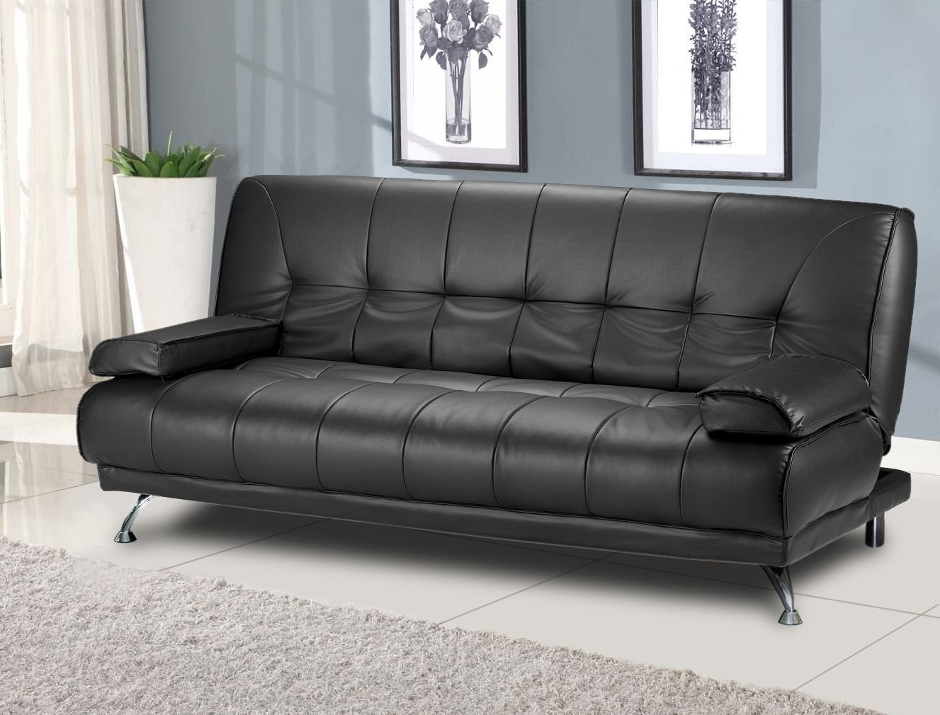 Milan Venice Sofa Bed in Black Faux Leather