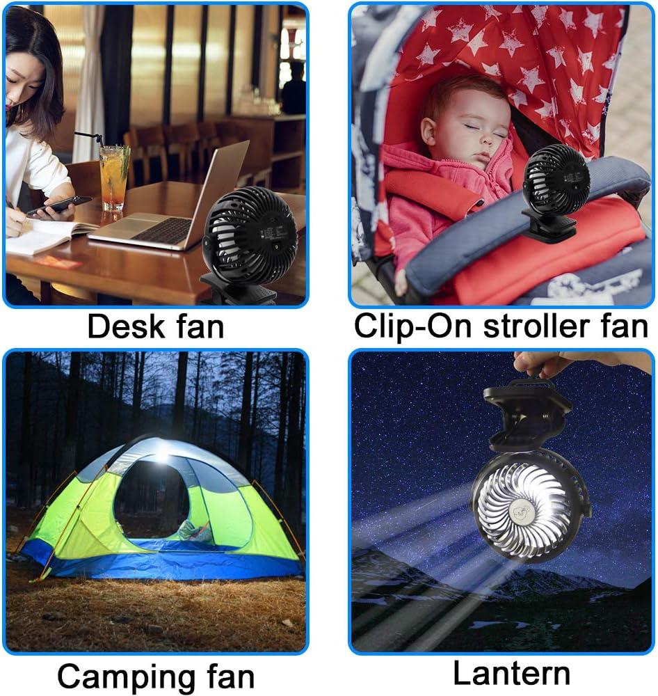 Camping Ventilador con Linterna LED, Ventilador de Cochecito con Clip a Batería recargable con Gancho para Colgar para Tienda, Ventilador pequeños ...