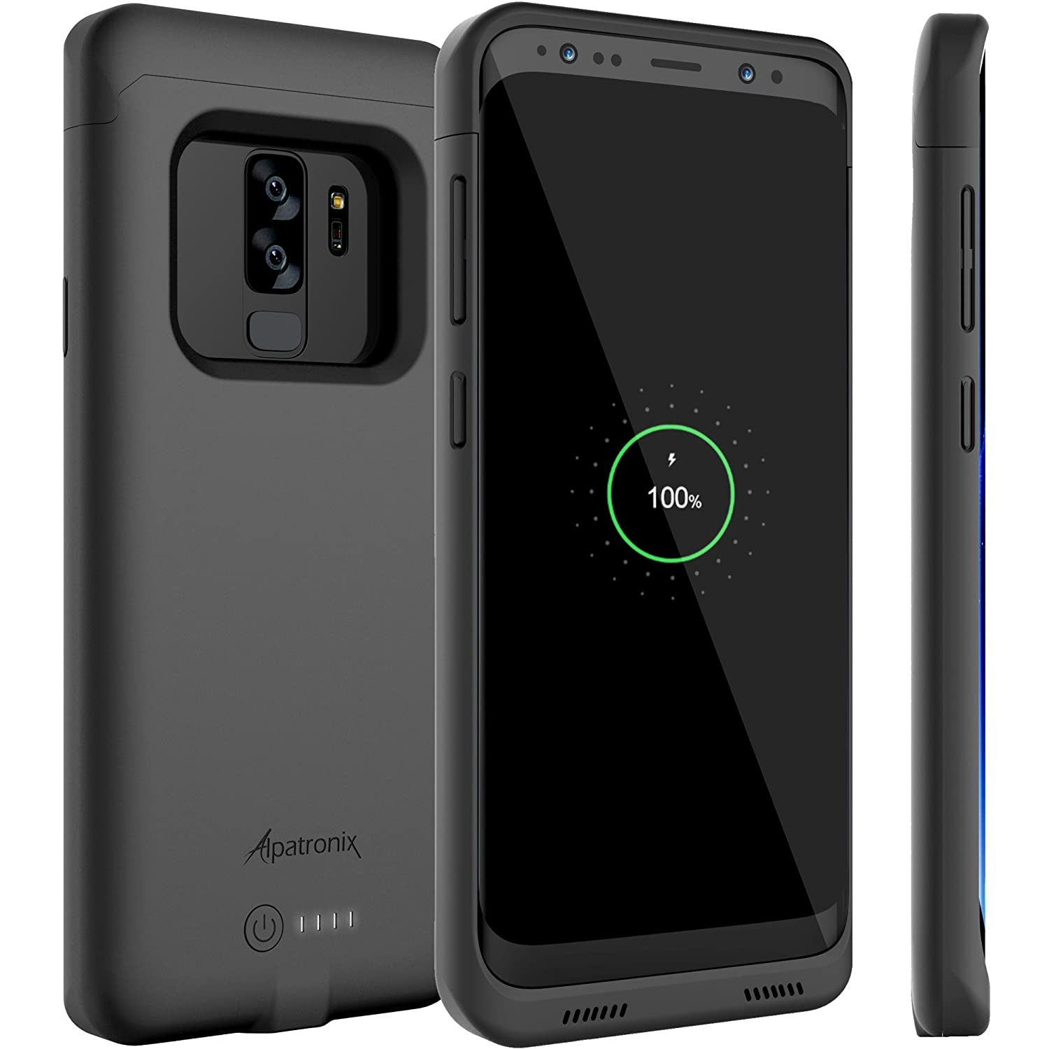 Galaxy S9 Plus Battery Case with Qi Wireless Charging Compatibility, Alpatronix BX440plus 6.2-inch 4600mAh Slim Rechargeable Protective Portable Backup Charger for Samsung S9+ [Android 8.0] - Black