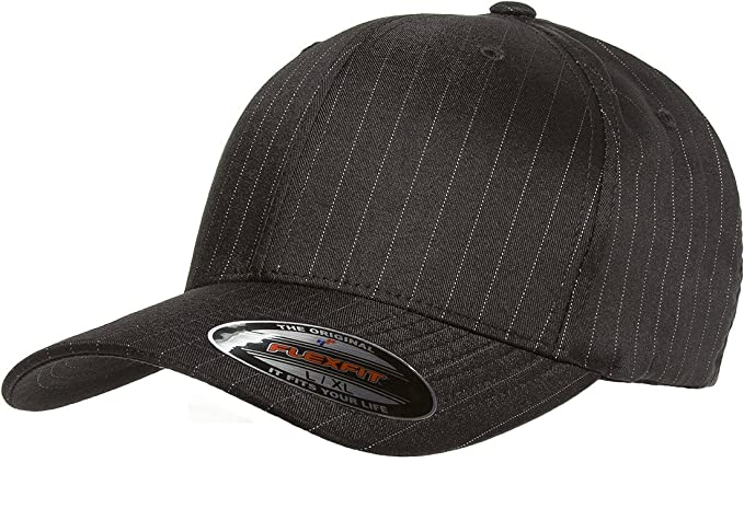 852405caf60 Flexfit Original Pinstripe Hat Baseball Blank Cap Fitted Flex Fit 6195P at Amazon  Men s Clothing store