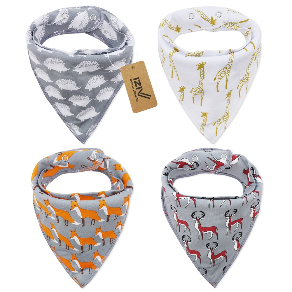iZiv 4 PACK Baby Bandana Drool Bibs with Adjustable Snaps, Absorbent Soft Cotton Lining 0-2 Years (Color-1) Dlife FDTZN46