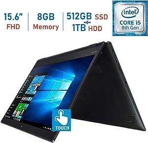 Lenovo Flex 5 15.6-inch 2-in-1 Touch FHD IPS (1920x1080) Laptop PC, Intel 8th Gen Quad Core i5-8250u, 8GB DDR4, Hybrid 512GB PCIe SSD + 1TB HDD, Backlit Keyboard, Fingerprint Reader, Windows 10