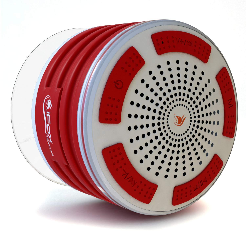 iFOX if013 Bluetoothシャワースピーカー – 防水。認定ワイヤレススピーカーフォンペアをすべてのBluetoothデバイス – iPhone、iPad、iPod、PC。FMラジオ – 赤と白 B01HOQUK48