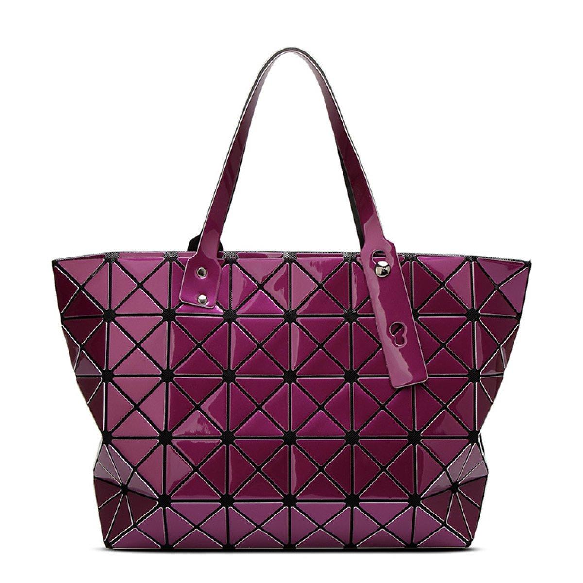 Damenmode Geometrische Gitter Tote Glossy Schultertasche,lila B0784S3LQ1 Henkeltaschen Praktisch und wirtschaftlich