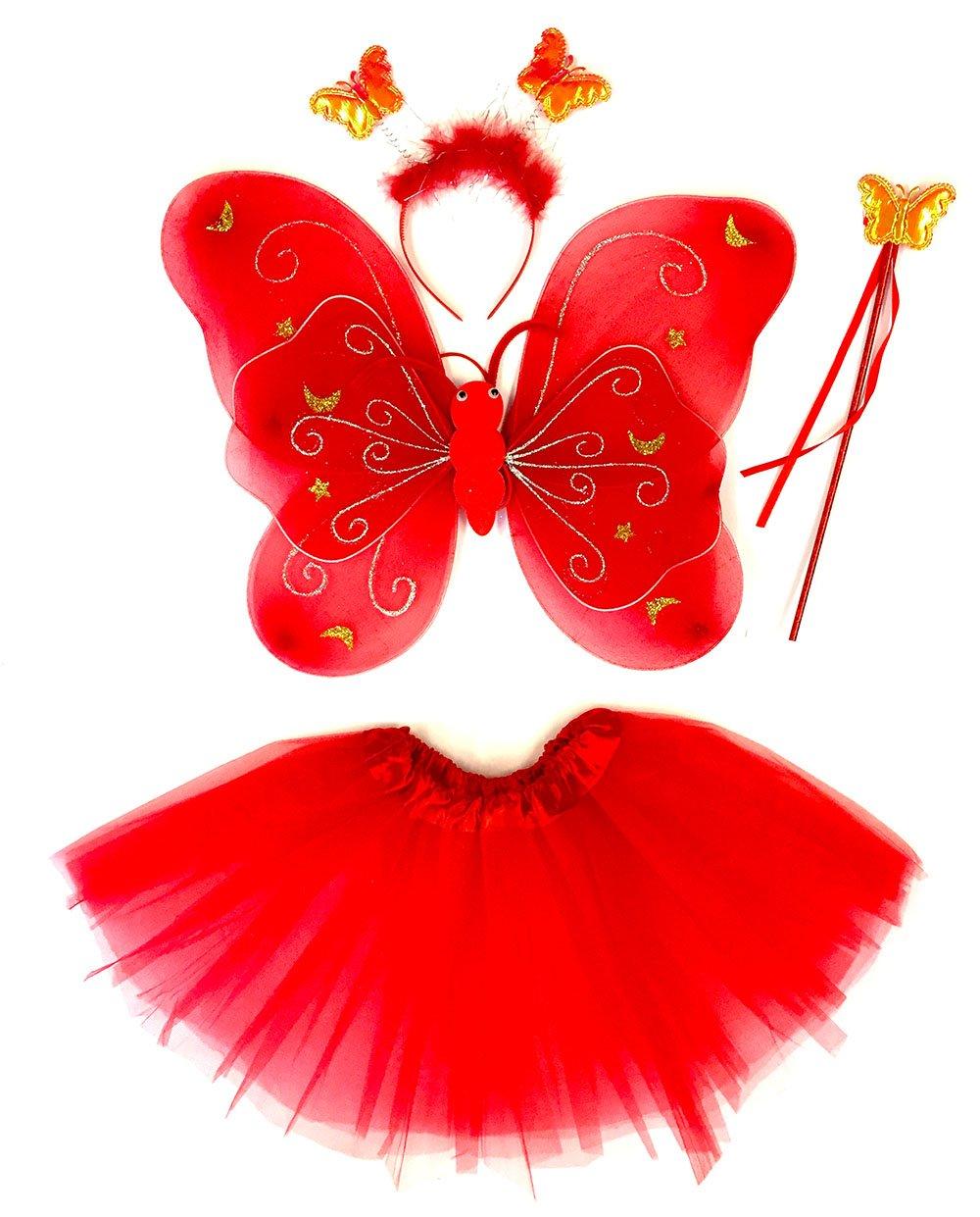 Tante Tina - Disfraz de Hadas Mariposa - Alas, Falda tutú, Varita mágica y Diadema - Rojo con Cintas