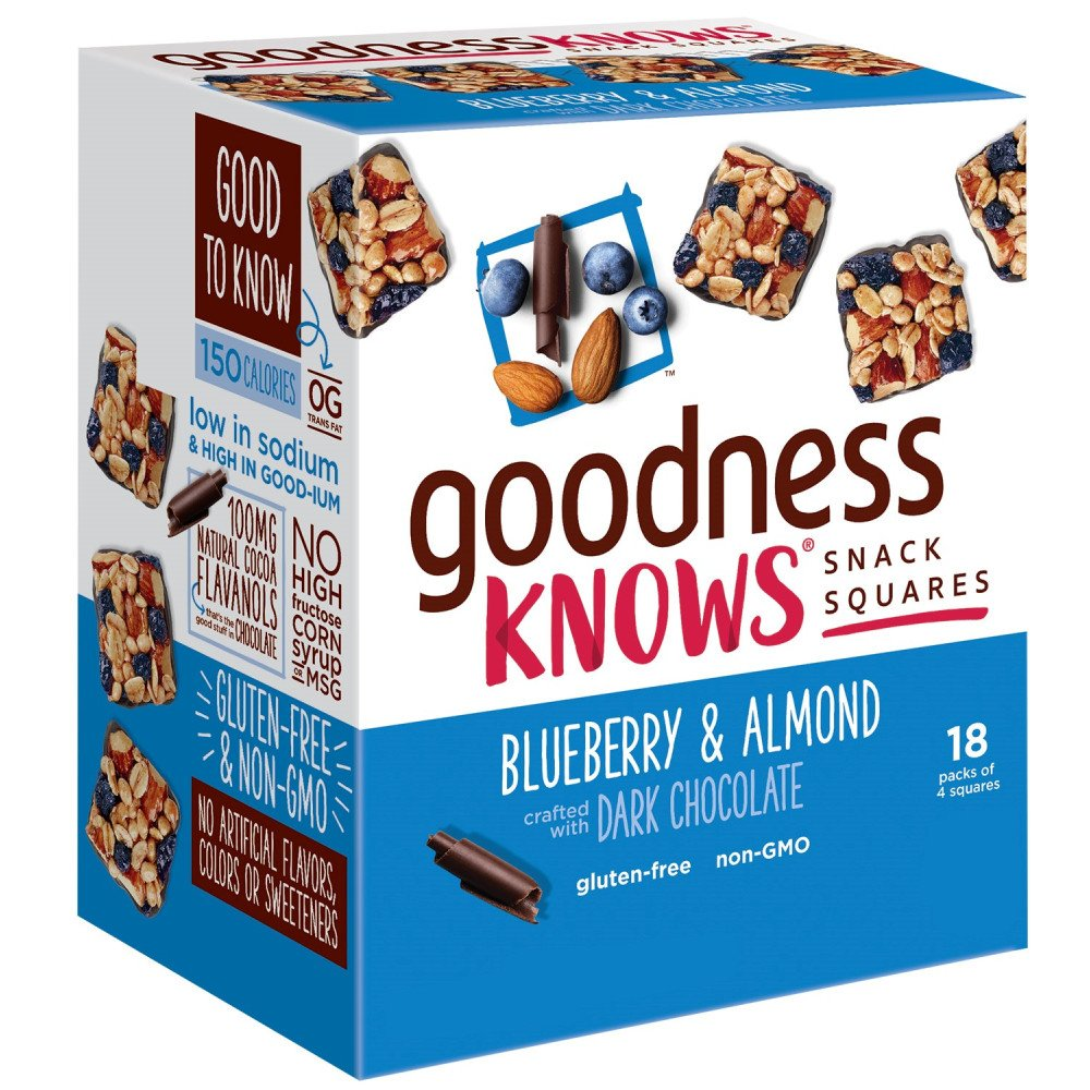 goodnessknows Blueberry, Almond & Dark Chocolate Gluten Free Snacks Square Bars 18-Count Box