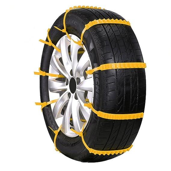 GOZAR 10Pcs Carro De Invierno Nieve Anti-Deslizamiento Rueda De Ruedas De Neumáticos Cinturón De Nylon Amarillo: Amazon.es: Hogar