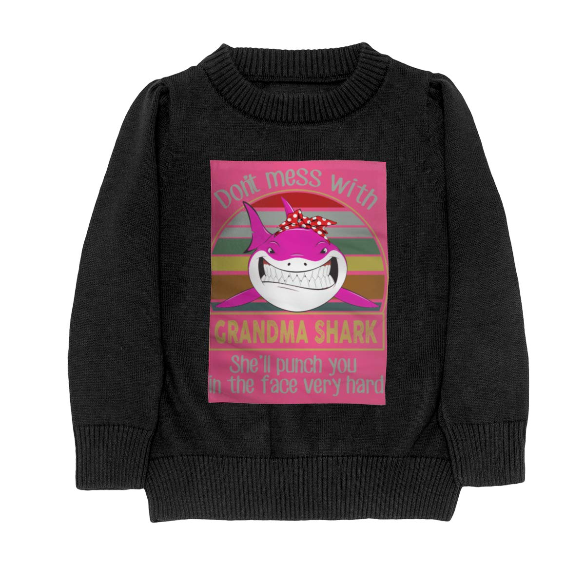 Dont Mess with Grandma Shark Knit Sweaters Pullover for Youth Girls