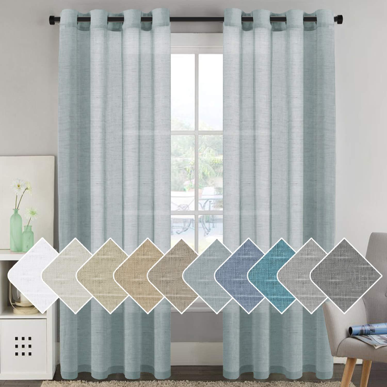 "H.VERSAILTEX Linen Sheer Curtains 96 inches Long Pair Set Linen Textured Sheer Curtains Nickel Grommet Window Treatment Panels for Villa/Hall/Parlor, Open Weave - Teal - 52"" W x 96"" L"