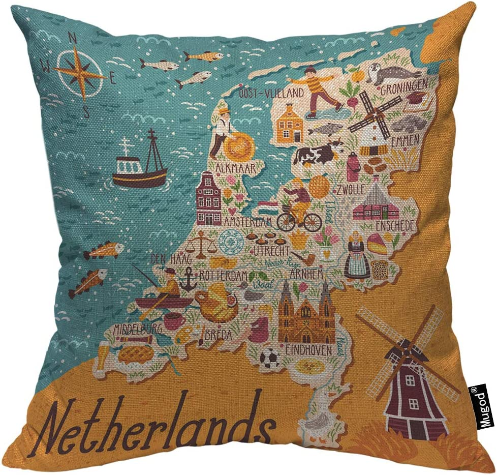 Mugod Map of Netherlands Decorative Throw Pillow Cover Case Dutch Landmarks Holland Food Windmill Blue Yellow Cotton Linen Pillow Cases Square Standard Cushion Covers for Couch Sofa Bed 18x18 Inch