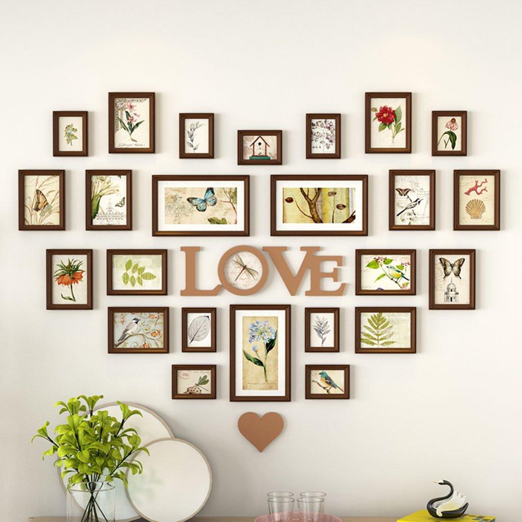 ZGP Home@Wall photo frame Living Room Heart Photo Wall Wall-mounted Frame Wall-mounted Assembly European Decoration Creative Love Bedroom Photo Frame (Color : B, Size : 164.4104CM)