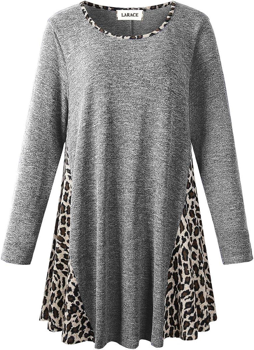 LARACE Leopard Print Tops for Women Plus Pullover Sweaters Color Block Fleece Loose Sweatshirt Long Sleeve Tunic Shirts