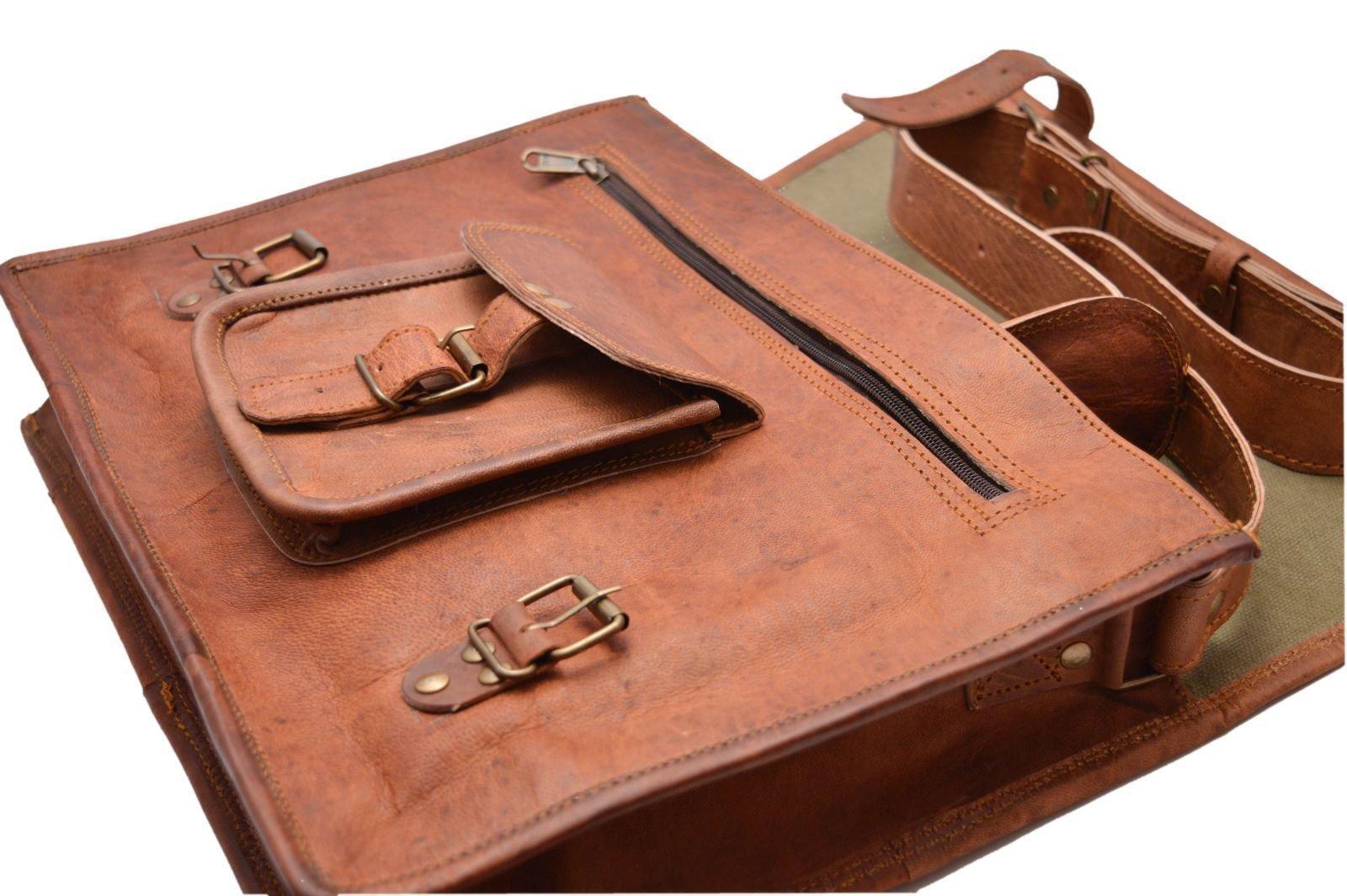 Handcrafted exports 15'' Laptop Vintage Leather Messenger Briefcase Satchel SALE