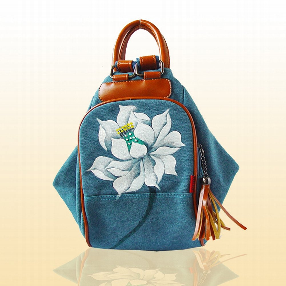 Reißverschluss-Segeltuch-Beutelhandtaschen-Handtaschenhandtasche , Lotus & Blau