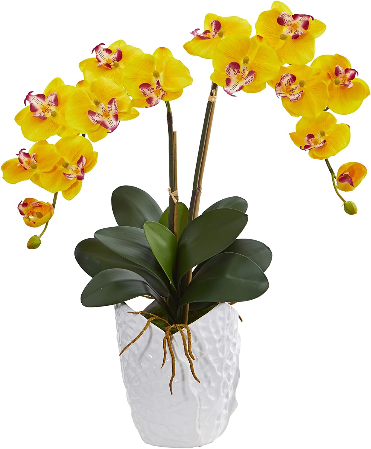 Nearly Natural Double Phalaenopsis Orchid Artificial Arrangement in White Ceramic Vase, Yellow
