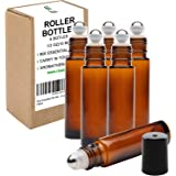 Rioa 10ml(1/3oz) Glass Roller Bottles With Stainless Steel Roller Ball for Essential Oil - Include Extra Roller Ball