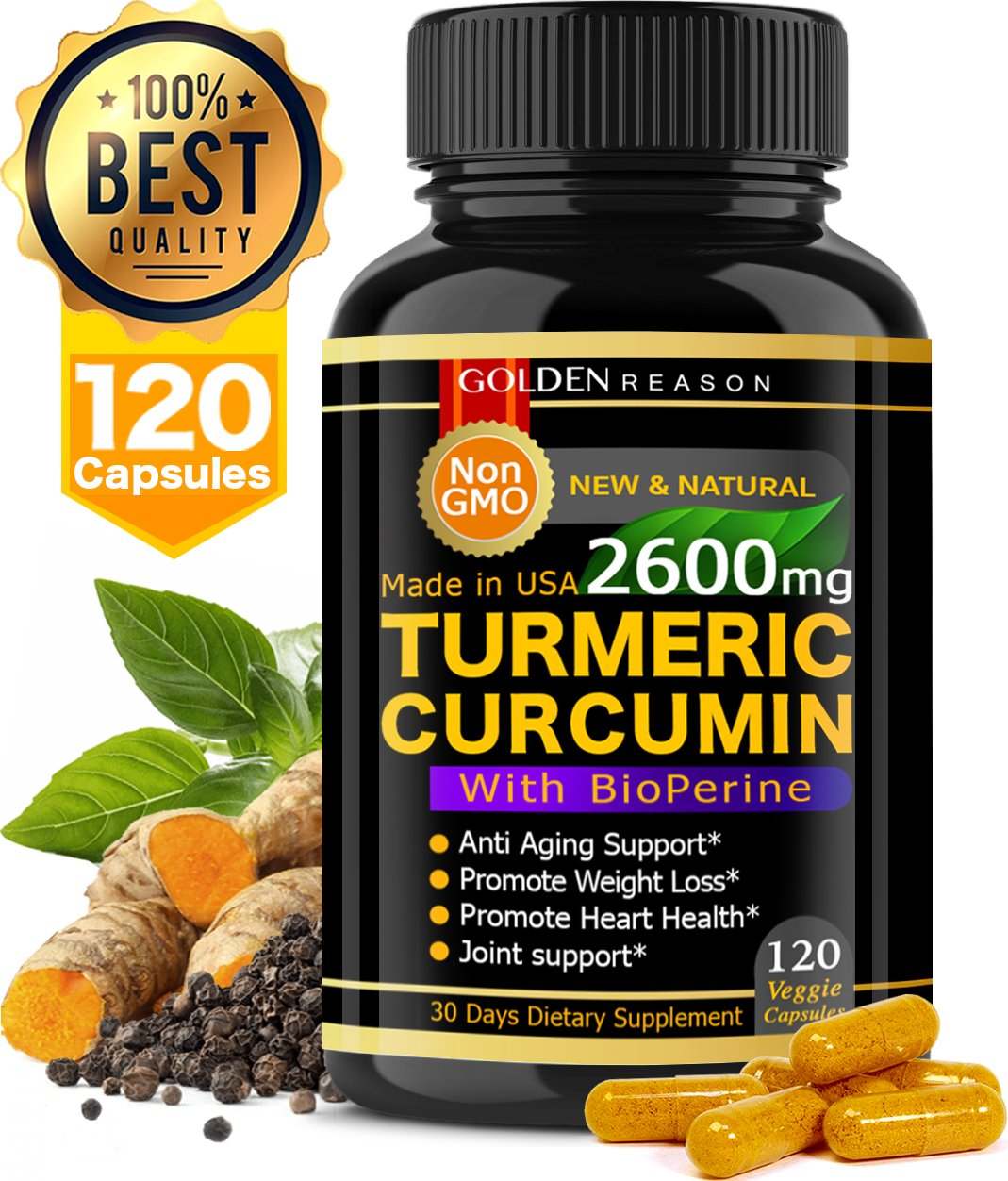 Turmeric Curcumin 2600mg. Anti Aging Support. Joint Support. Promotes Natural Weight Loss and Heart Health, with Bioperine Black Pepper 120 High Quality Veggie Capsules. Non GMO. Made in USA. 120