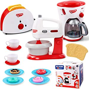 HONYAT Kids Kitchen Pretend Play Accessories Set Include Mixer, Toaster, Coffee Maker Machine, Utensils and Cutting Vegetables Cooking Set Play Kitchen Accessories for Toddlers Boys and Girls