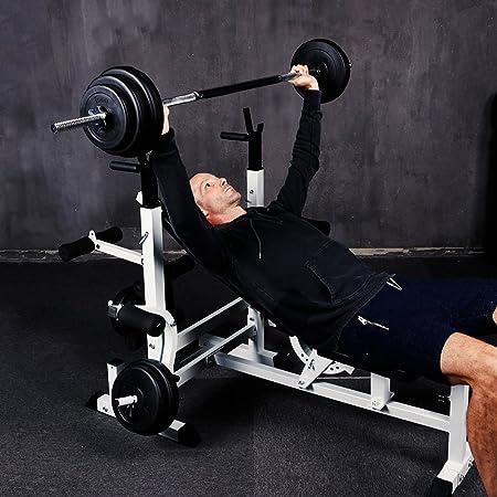 cclife multifunción estación de halteras con pesas 60 kg Set - Banco de entrenamiento Fuerza Station Press de banca Fitness dispositivo lanhantel Banco ...