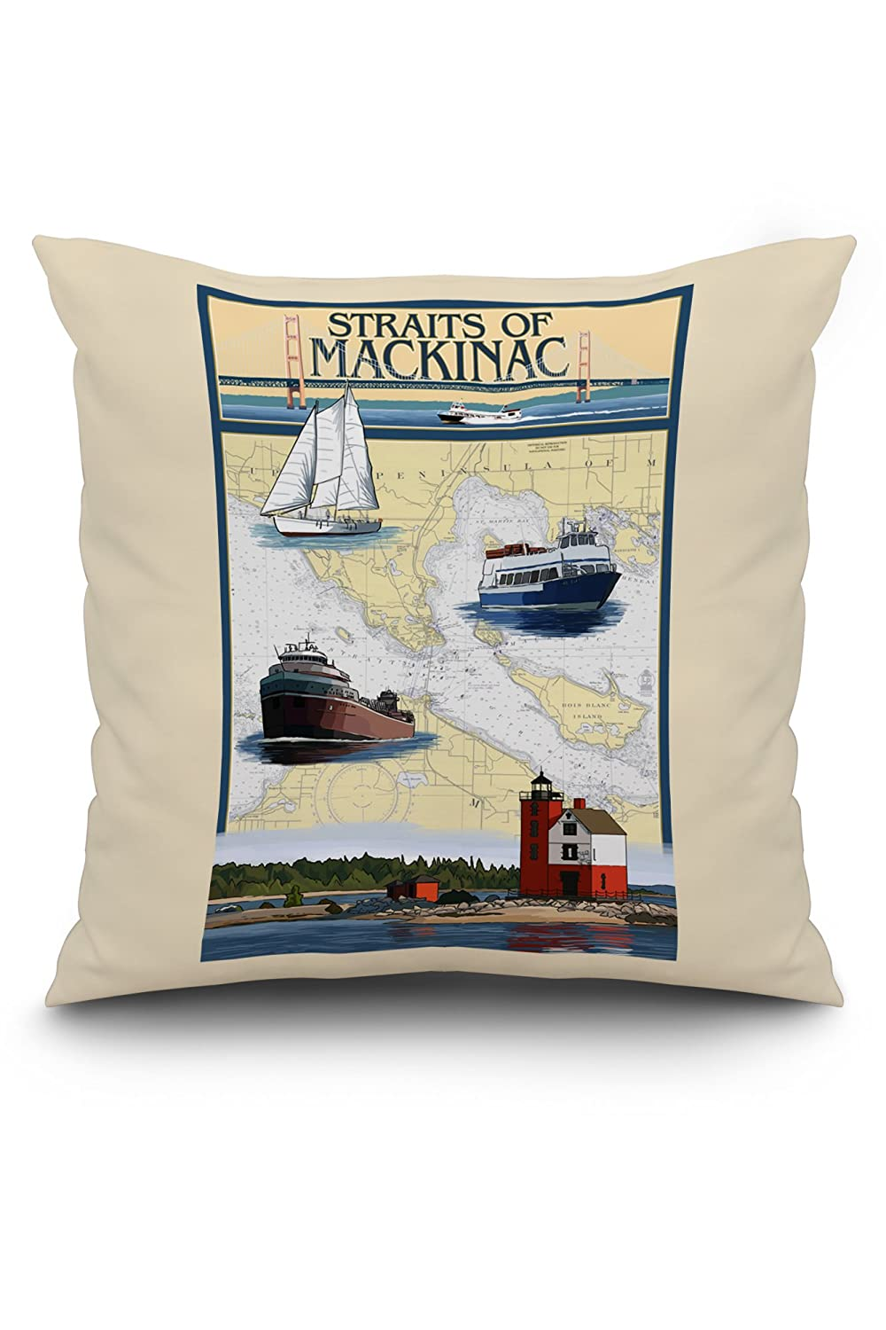 Straits of Mackinac, Michigan - Nautical Chart (20x20 Spun Polyester Pillow, White Border)