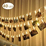 LED Photo Clips String Lights,WONFAST Battery Operated 5M 40 LED Peg Displaying Pictures Fairy Decorative Lights for Hanging Pictures Indoor Outdoor Party Christmas Decoration (40 clips Warm white)