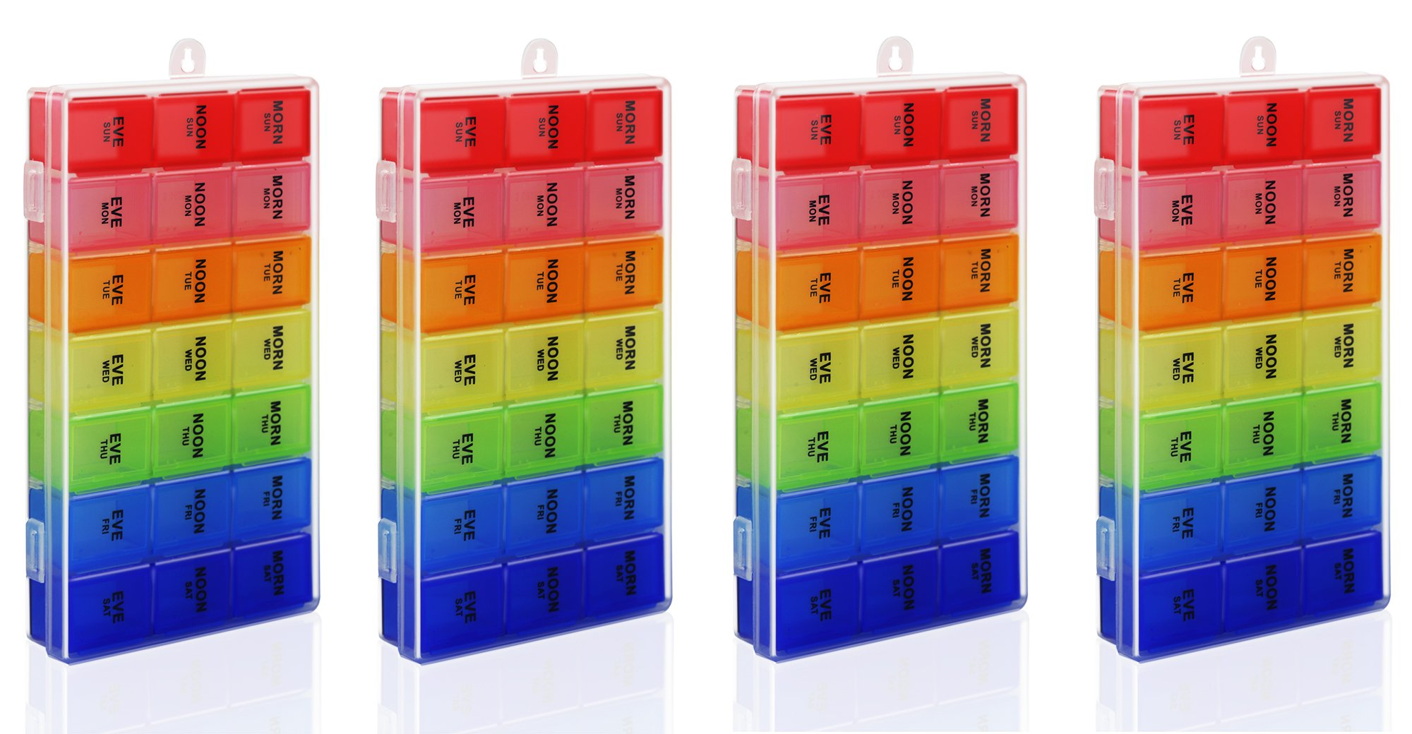Rainbow Weekly Pill Organizer with Snap Lids| 7-day AM/PM | Detachable Compartments for Pills, Vitamin. (Rainbow 4pcs) by Inspiration Industry NY