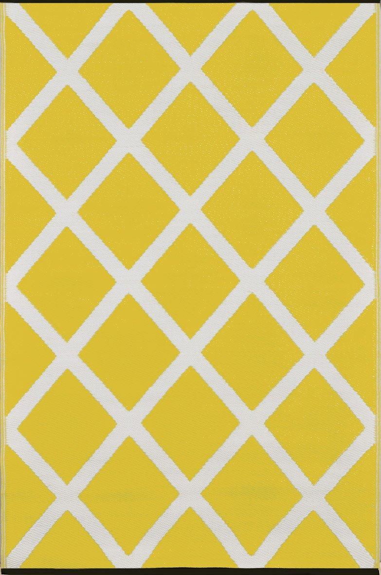 Green Decore Diamond Lightweight Indoor/Outdoor Reversible Plastic Rug, Mimosa Yellow/Cream, 3 ft x 5 ft (90 cm x 150 cm)