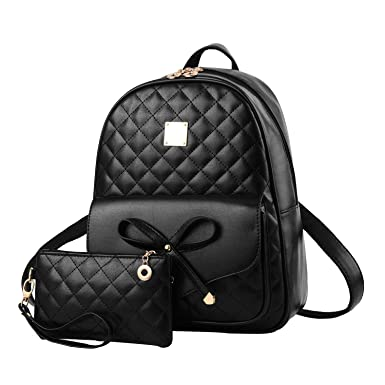 db57ed1df082 Amazon.com  I IHAYNER Girls Bowknot 2-PCS Fashion Backpack Cute Mini  Leather Backpack Purse for Women Black  Clothing