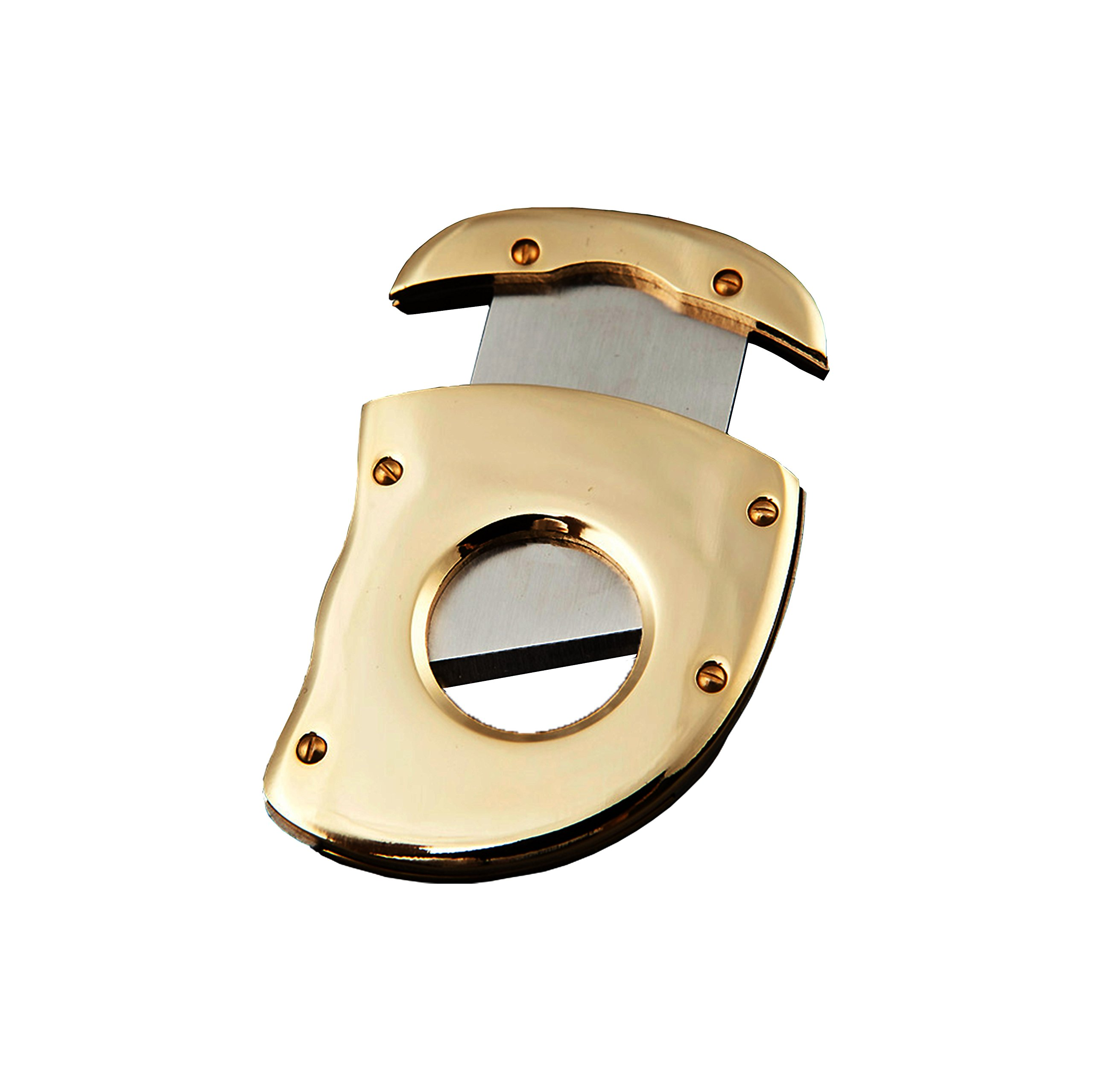 Official High End Gold Cigar Cutter - Special Stylish Design, Luxury Golden Cigar Cutter - Sharp Guillotine Blade - Cuts Cigars with Ease, Safe & Easy to Use - Pocket Size Cigar Cutter