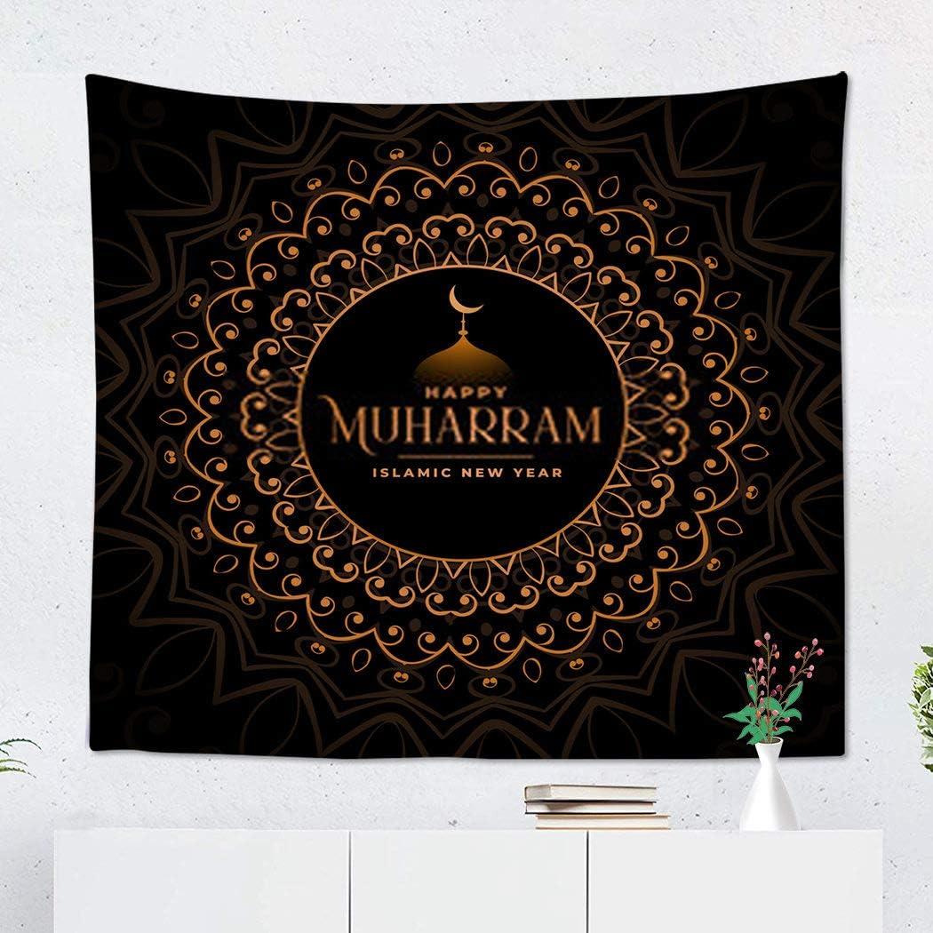 Sgvsdg TapestryEid Al Adha Premium Happy Muharram Golden 60x80 Inch Wide Wall Hanging Polyester Dorm Art Bedrooms Living Room Beach Blankets Curtains Design