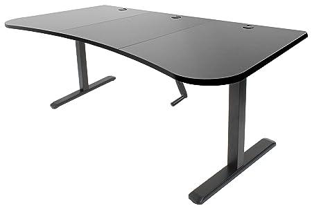 VIVO Black Height Adjustable Stand Up Desk Frame Crank System Workstation with 3 Section Table Top Frame Desktop Combo DESK-KIT-1M1B