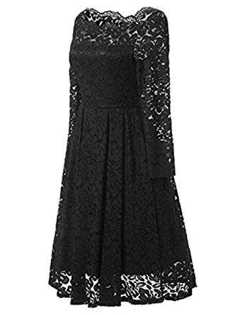 JH DRESS Short Lace Prom Retro Cocktail Dresses Long Sleeves Cheap Wedding Dresses for Women 50s
