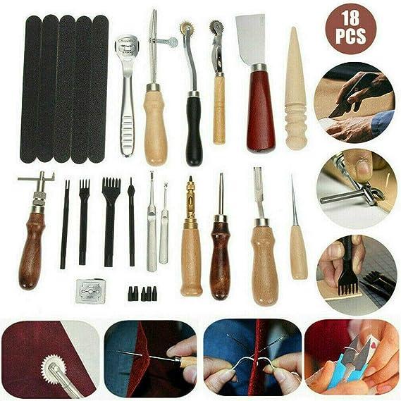 Kit de grabado sobre piel, 18 herramientas de maroquinería para picar, marcar, trabajar, coser y ranurar: Amazon.es: Hogar