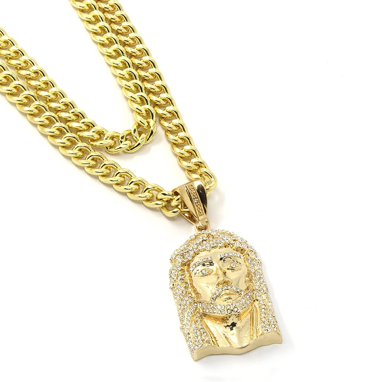 """Mens Gold Plated Jesus Face Pendant Hip Hop 30"""" & 36"""" Cuban Chain 3Pc Set"""