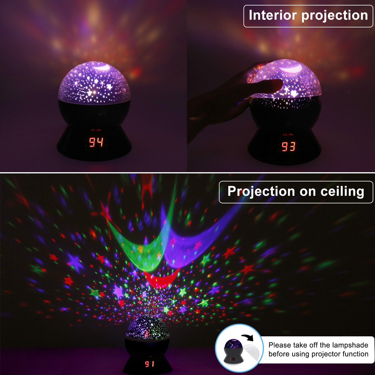 Star Sky Night Lamp,ANTEQI Baby Lights360 Degree Romantic Room Rotating Cosmos Star Projector with LED Timer Auto-Shut Off,USB Cable for Kid Bedroom,Christmas Gift (Black) by ANTEQI (Image #3)