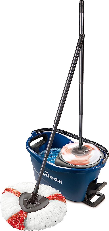 Vileda Turbo Colors - Juego Completo de Fregona y Cubo con Escurridor, Color Azul, 486 X 296 X 293 mm