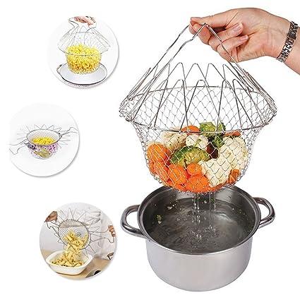 Compra Cocina cesta, plegable de acero inoxidable sartén de freír ...