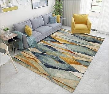 Ommda Teppiche Wohnzimmer Modern Geometrisches Digitales Drucken Kurzflor  Teppich Antirutsch Abwaschbar Colorful 200x300cm