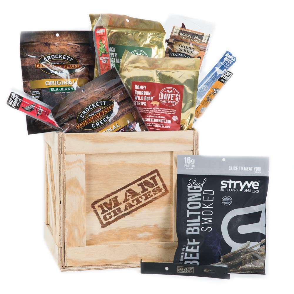 Man Crates Exotic Meats Crate – The Ultimate Gift For Meat Lovers – Includes 10 Rare Jerky Flavors Like Venison, Wild Boar, Elk and More – Ships In A Sealed Wooden Crate With A Laser-Etched Crowbar